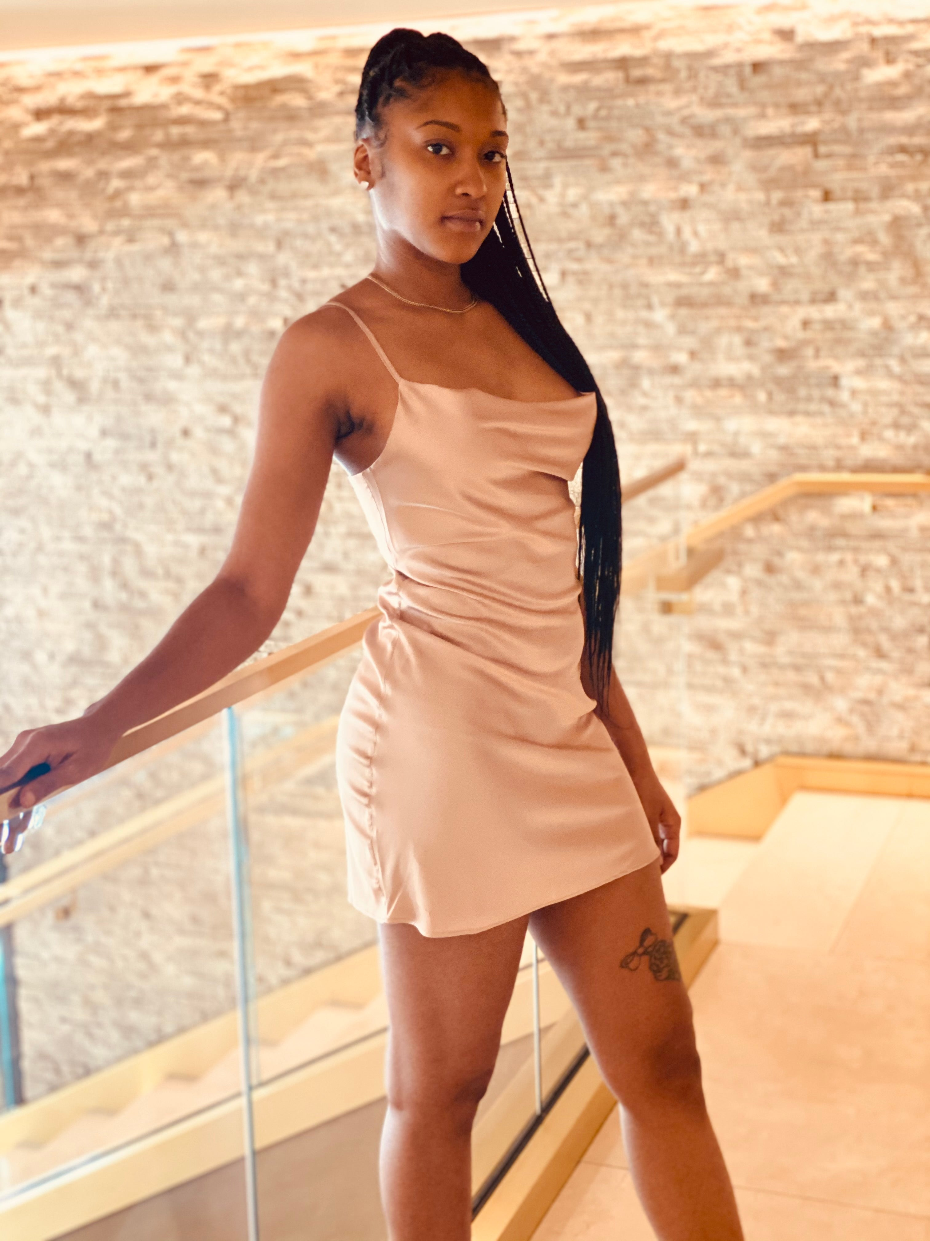 """Love Me Up"" Slip Dress - Champagne - Ayala V. Collection Women's Apparel Style Shop"