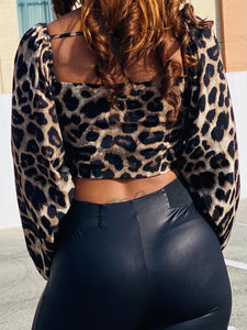 Leopard Print Tie-Front Crop Top - Ayala V. Collection Women's Apparel Style Shop