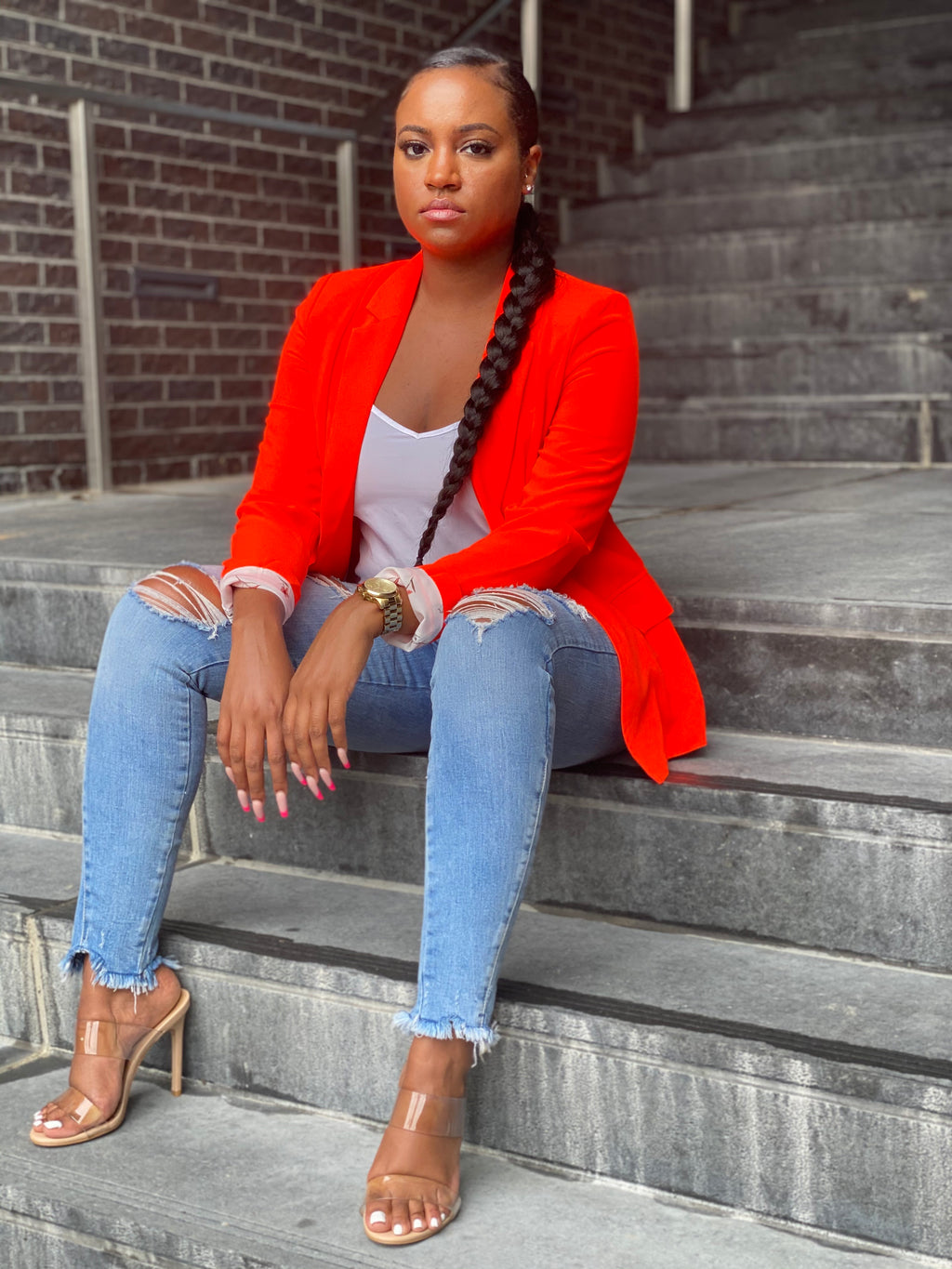 """Neon Lights"" Blazer (Orange) - Ayala V. Collection Women's Apparel Style Shop"