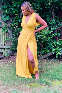 """Sophia"" Wrap Dress (Yellow) - Ayala V. Collection Women's Apparel Style Shop"