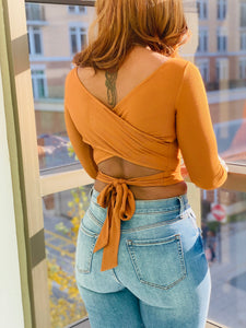 Ribbed Peekaboo Crop Top - Cognac - Ayala V. Collection Women's Apparel Style Shop
