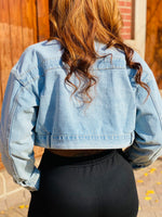 Load image into Gallery viewer, Cropped Denim Jacket - Ayala V. Collection Women's Apparel Style Shop