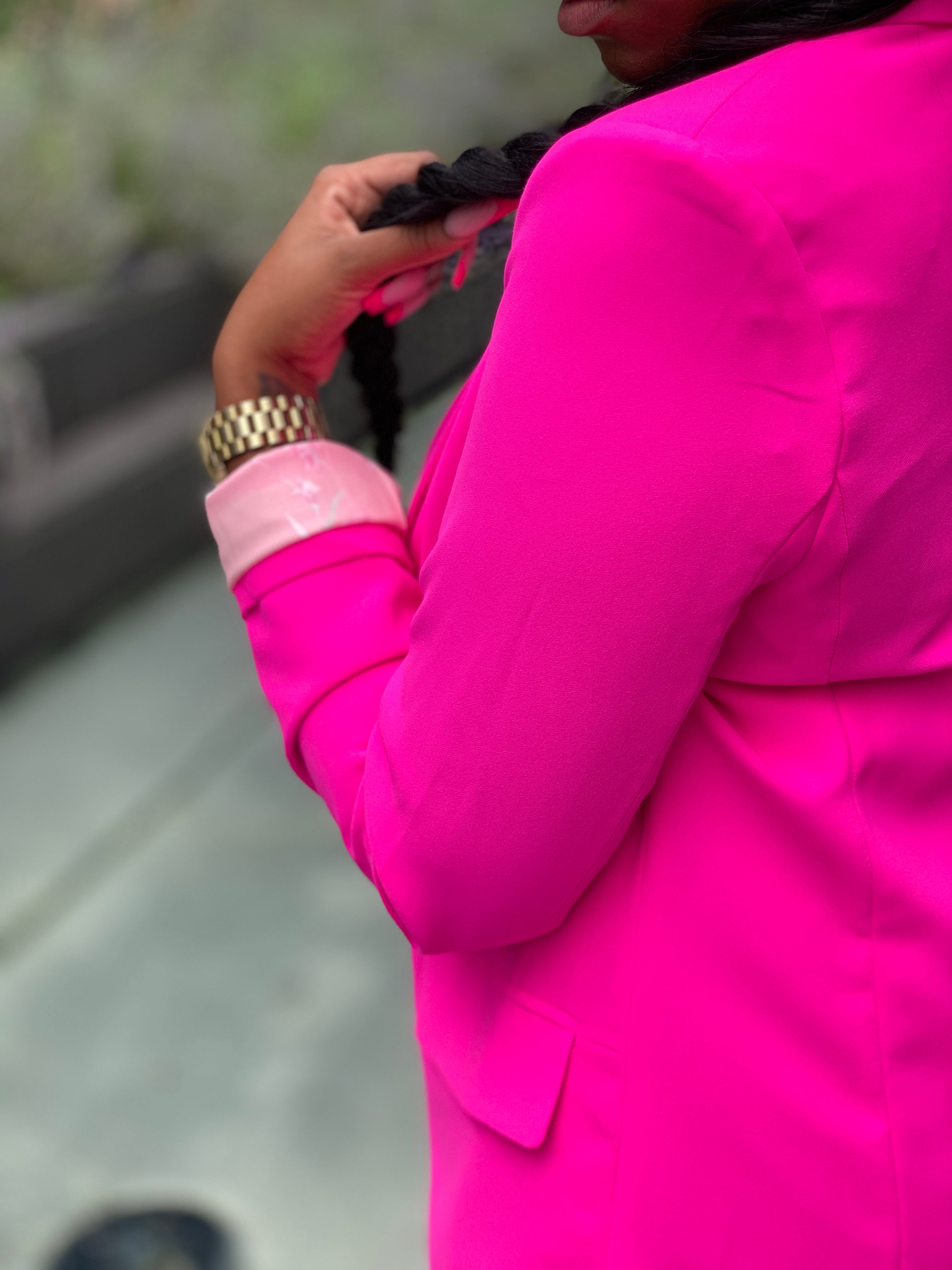 """Neon Lights"" Blazer (Pink) - Ayala V. Collection Women's Apparel Style Shop"