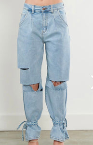 """Tie Me Up"" Wide Leg Jeans - Ayala V. Collection Women's Apparel Style Shop"