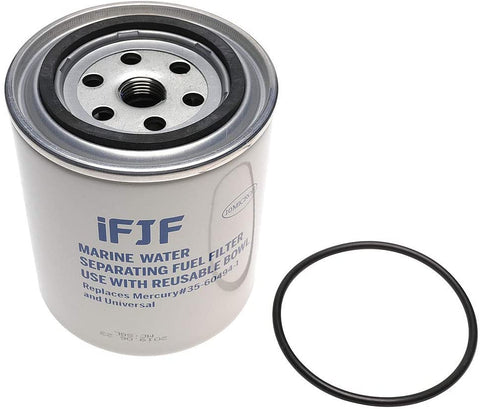 iFJF S3213 Fuel Water Separating Filter Replacement Filter with O-ring fit 3/8 Inch NPT Outboard Motors 802893Q01