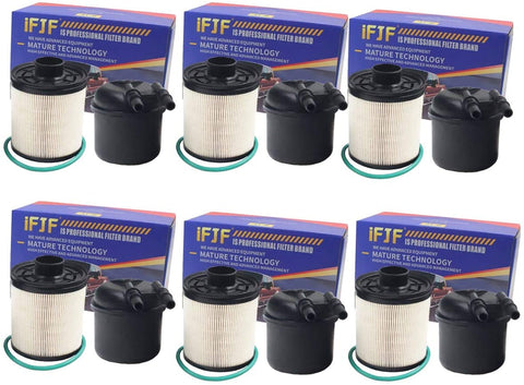 iFJF FD4615 Fuel Filter Water Separator for Ford F-250 F-350 F-450 F-550 Super Duty 6.7L V8 Diesel Powerstroke(Set of 6)