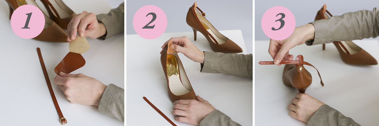 Attaching ankle straps on shoes is easy, secure and instant with 100% genuine leather Ginger Straps
