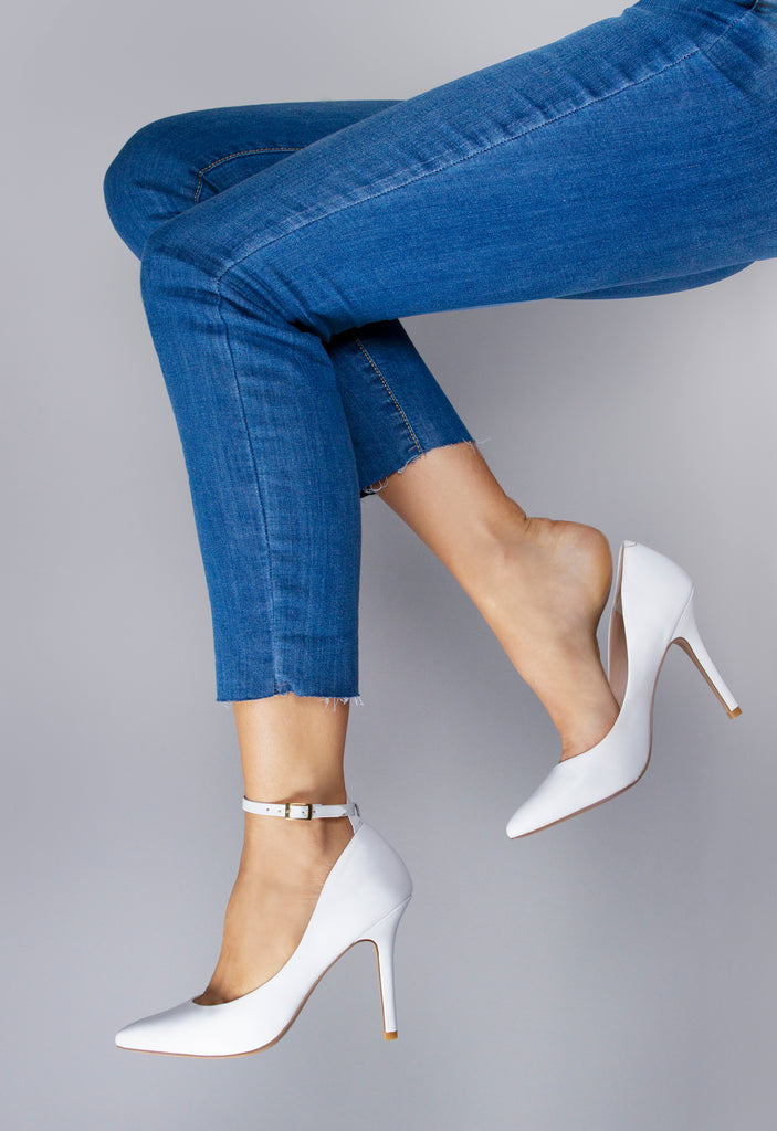 White Ankle Straps