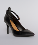 The voguish black ankle strap by Ginger Straps attached to a black high heel