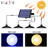 Powerful 4-Head Solar Pendant Light Outdoor Indoor Solar Lamp Line Warm White / White Lighting Camp Garden Yard