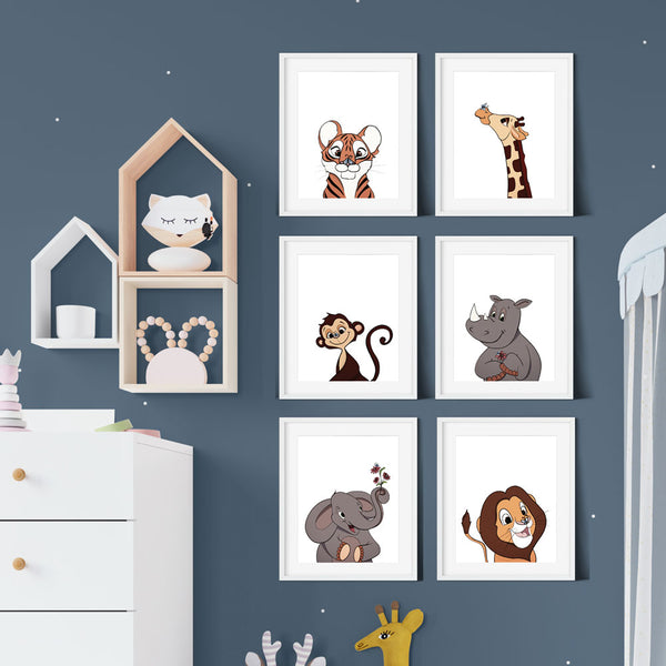 Baby Safari Animal Cartoon Prints Set