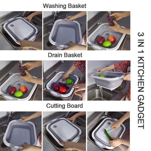 Homerri default 2PCS (60% OFF) Eco-Friendly 3in1 Multi-Function Foldable Cutting Board, Washing Bowl & Draining Fruit Basket
