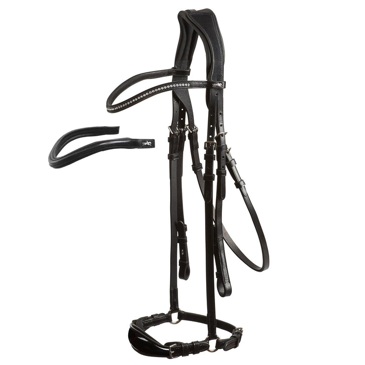 Schockemohle Seattle Anatomical Bridle, Black Patent/Silver