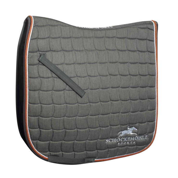 Schockemohle Dynamite Dressage Saddle Pad Logo, Grey Melange/Orange, Full