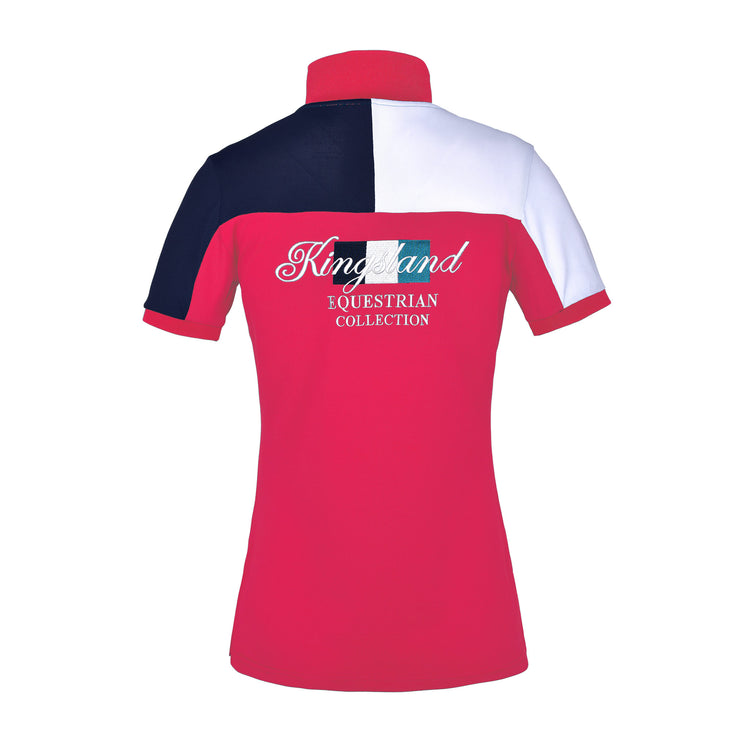 Kingsland Janey Ladies Technical Pique Polo Shirt, Red Geranium
