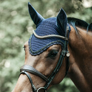 Kentucky Horsewear Fly Veil Long Stone & Pearl, Navy