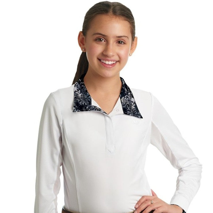 Romfh Sarah Child's Show Shirt- Long Sleeve White/Wicked