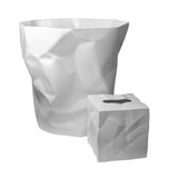 Essey White Bin Bin Wastebasket and Wipy Tissue Holder Bathroom Combo
