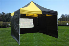 F Model 10'x10' Black Yellow - Pop Up Tent Pro