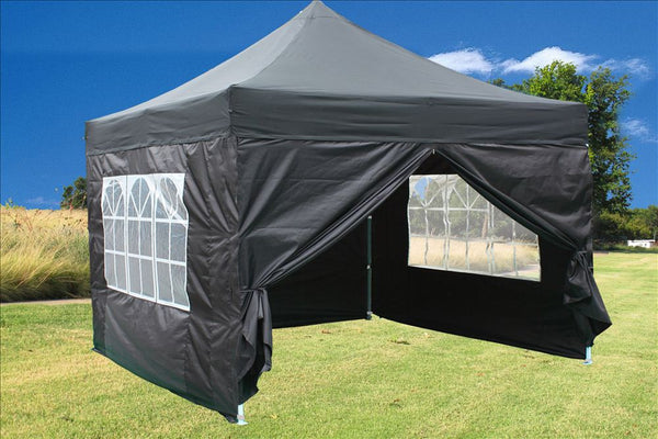 Black 10 X10 Pop Up Tent Pro With 4 Window Walls Wedding