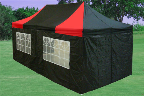 F Model 10'x20' Black Red - Pop Up Tent Pro