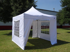 F Model 10'x10' White - Fire Retardant Pop Up Tent Pro