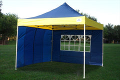 F Model 10'x10' Navy Blue/Yellow - Pop Up Tent Pro