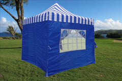 F Model 10'x10' Blue Stripe - Pop Up Tent Pro