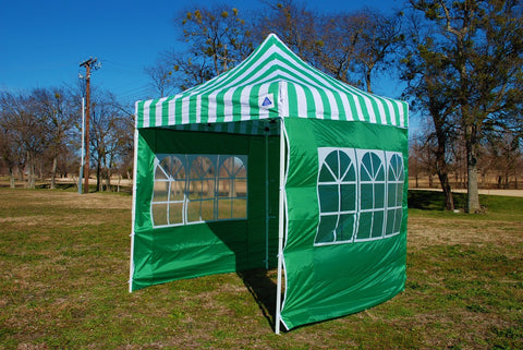 E Model 10'x10' Green Stripe - Pop Up Tent