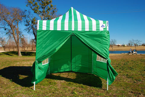 F Model 10'x10' Green Stripe - Pop Up Tent Pro