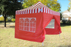 E Model 10'x10' Red Stripe - Pop Up Tent