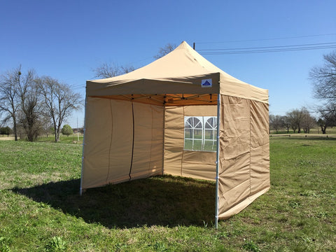 F Model 10'x10' Tan - Pop Up Tent Pro