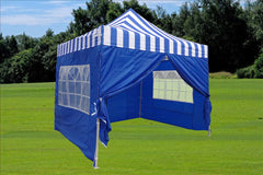 E Model 10'x10' Blue Stripe - Pop Up Tent