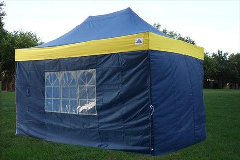 F Model 10'x15' Navy Blue/Yellow - Pop Up Tent Pro