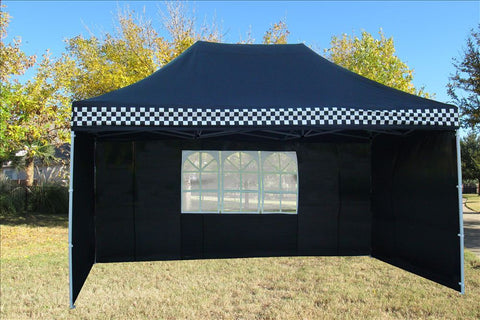 F Model 10'x15' Black Checker - Pop Up Tent  Pro