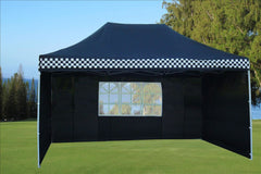 E Model 10'x15' Black Checker - Pop Up Tent