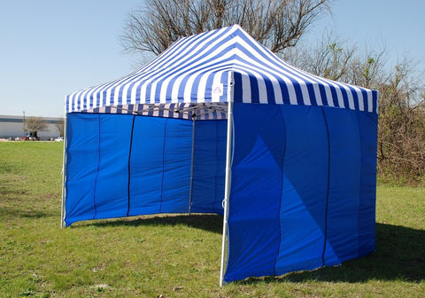 F Model 10'x15' Blue Stripe - Pop Up Tent Pro
