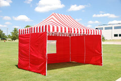F Model 10'x15' Red Stripe - Pop Up Tent Pro