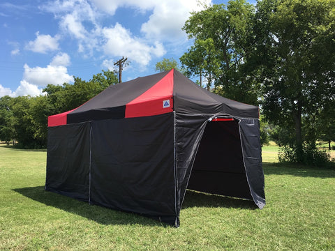 F/S Model 10'x20' Black Red - Pop Up Tent Pro with Solid Walls