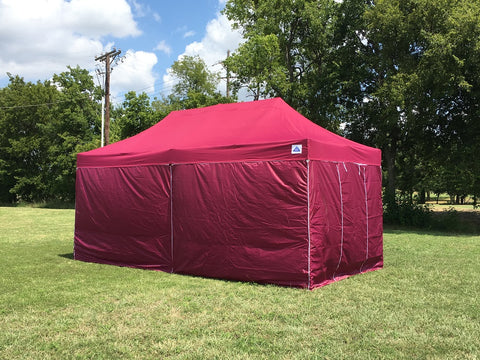F/S Model 10'x20' Maroon - Pop Up Tent Pro with Solid Walls