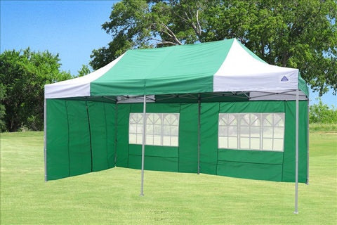 F Model 10'x20' Green White - Pop Up Tent Pro