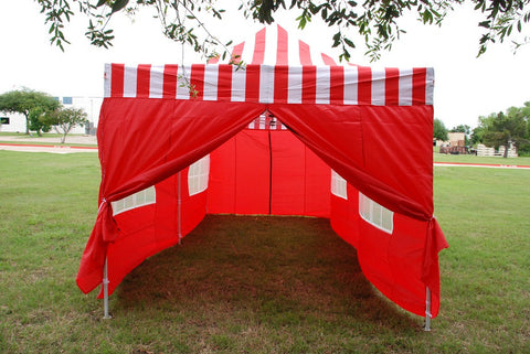 E Model 10'x20' Red Stripe - Pop Up Tent