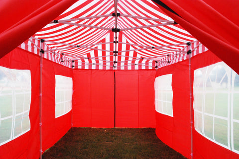 F Model 10'x20' Red Stripe - Pop Up Tent Pro