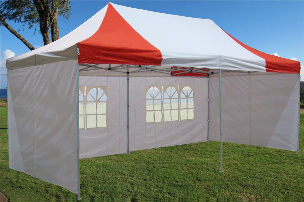 E Model 10 X20 Red White Pop Up Tent Deltacanopy