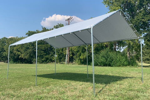 PE Carport Shelter - 20'x10' Light Grey