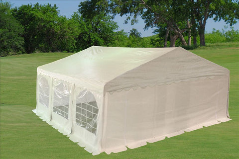 PE Party Tent 20'x20' with Waterproof Top - White