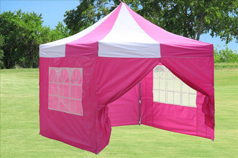 F Model 10'x10' Pink White - Pop Up Tent Pro