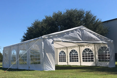 Budget PE Party Tent 26'x16' with Waterproof Top - White