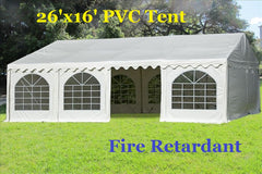 Fire Retardant PVC Wedding Party Tent Canopy Shelter White - 26'x16', 32'x16'