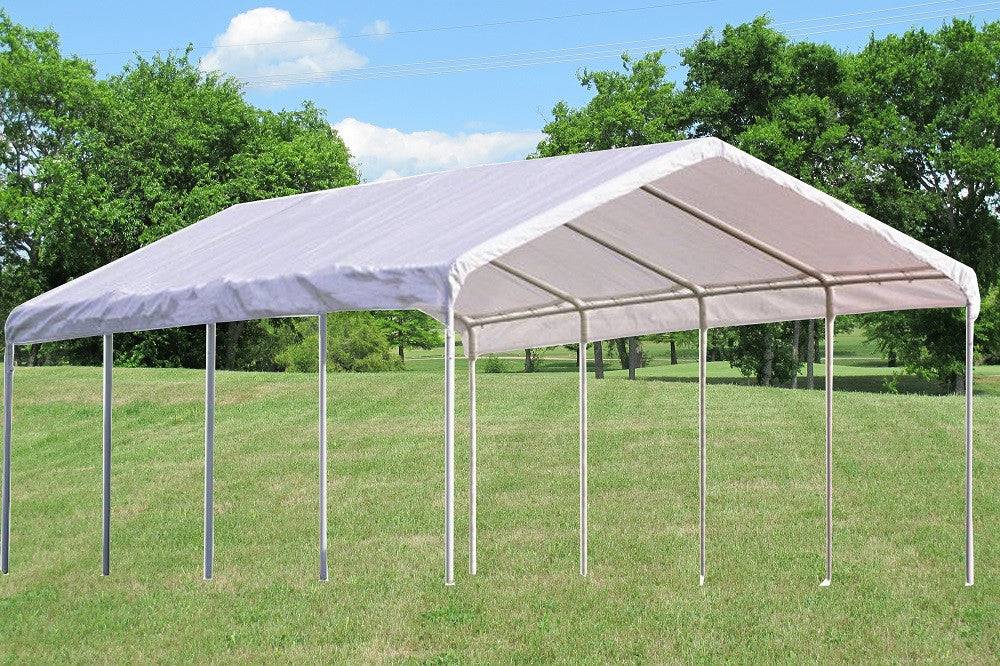 PE Carport Shelter - Two Sizes Available - 18'x20', 18'x27